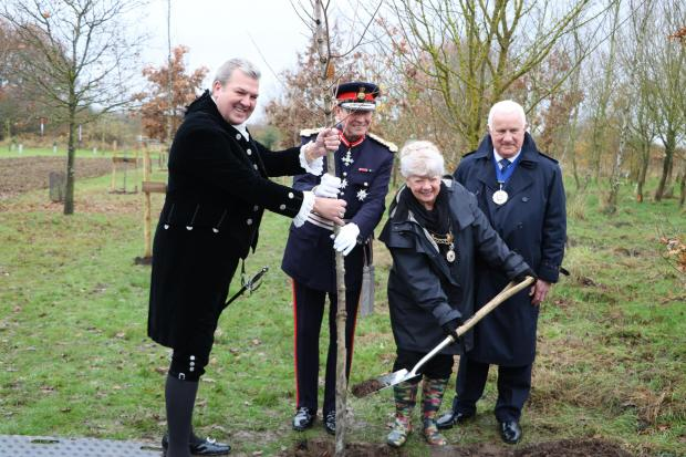 Forestry Journal: (l-r) Ashley Brough, the High Sheriff of Staffordshire; Ian Dudson, Lord-Lieutenant of Staffordshire; Mrs Pat Cross; and Councillor Derek Cross, vice chairman of Lichfield District Council.