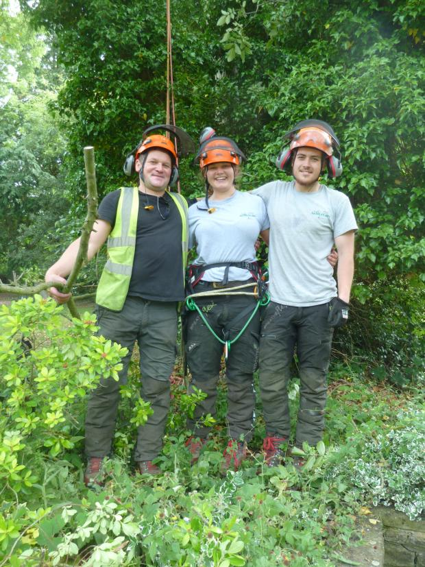 Forestry Journal: The Arborcare team at St Peter's Church. Adam Piekarski, Ashli Jenkins and Dan Cameron.