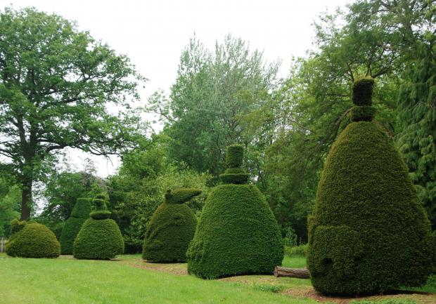 Forestry Journal: The designs clipped into the Clipsham yews symbolise people or historical events. The anchor, for example, commemorates the late David Davenport-Handley's entrance to the prestigious Dartmouth Royal Naval College in 1930. The three bears, an elephant and even an easy chair also feature.