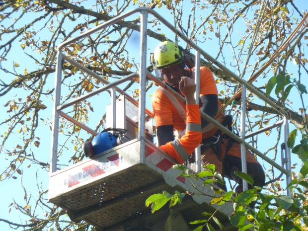 Forestry Journal: Tom Ruffle (rescuer) attaching the lifting system to Lawrence Toogood (casualty).
