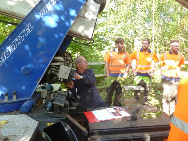 Forestry Journal: Patrick Venables demonstrates the MEWP's emergency lowering systems.