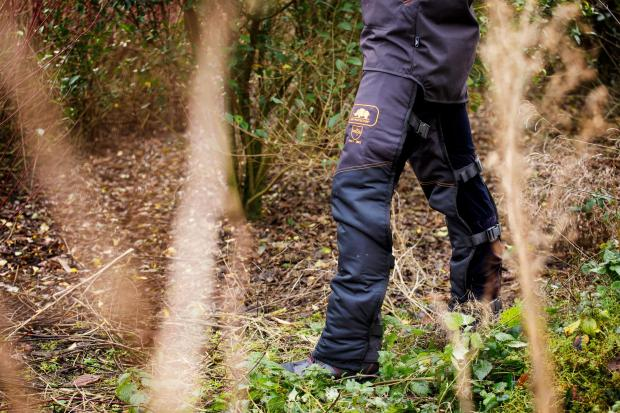 Forestry Journal: SIP Protection's BasePro Roadrunner chaps use buckles and are designed to be put on and removed quickly and easily over regular trousers.